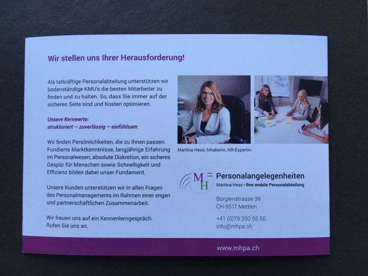 Martina Hess Personalangelegenheiten_Business Storytelling_Ancilla Schmidhauser_Akquise Stories_Flyer 6